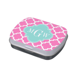 Hot Pink2 Wt Moroccan #5 Turquoise 3 Init Monogram Jelly Belly Candy Tin
