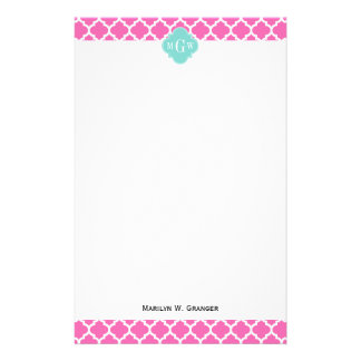 Hot Pink2 Wt Moroccan #5 Turquoise 3 Init Monogram Stationery