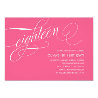 "Hot Pink 18th Birthday Party Invitations 5"" X 7"" Invitation Card"