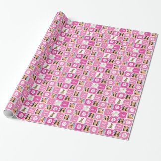 Hot Pink 21st Birthday Legal Age Photo Template Wrapping Paper
