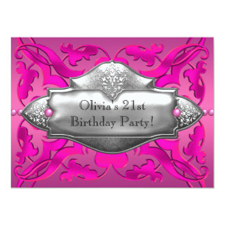 Hot Pink 21st Birthday Party 6.5x8.75 Paper Invitation Card