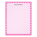 Hot Pink #2 and White Polka Dots Pattern Letterhead