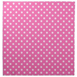 Hot Pink #2 and White Polka Dots Pattern Printed Napkins