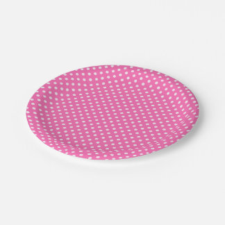 Hot Pink #2 and White Polka Dots Pattern Paper Plate