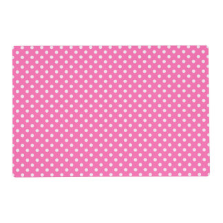 Hot Pink #2 and White Polka Dots Pattern Placemat