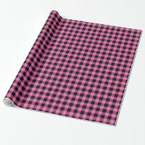 Hot Pink #2, Black Buffalo Plaid Tartan Wrapping Paper