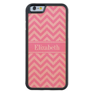 Hot Pink #2 Cotton Candy LG Chevron Name Monogram Carved Maple iPhone 6 Bumper Case
