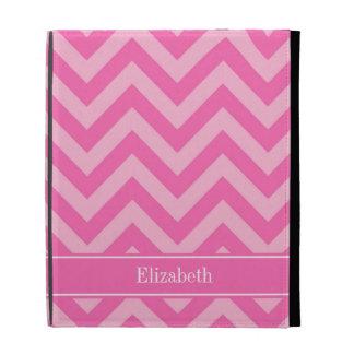 Hot Pink #2 Cotton Candy LG Chevron Name Monogram iPad Folio Cases
