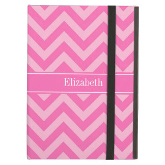 Hot Pink #2 Cotton Candy LG Chevron Name Monogram Case For iPad Air