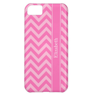 Hot Pink #2 Cotton Candy LG Chevron Name Monogram Case For iPhone 5C