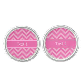 Hot Pink #2 Cotton Candy LG Chevron Name Monogram Cufflinks