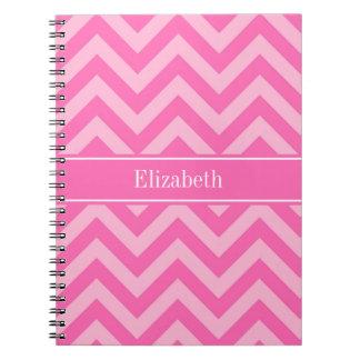 Hot Pink #2 Cotton Candy LG Chevron Name Monogram Notebooks