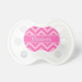 Hot Pink #2 Cotton Candy LG Chevron Name Monogram BooginHead Pacifier