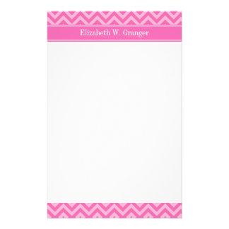Hot Pink #2 Cotton Candy LG Chevron Name Monogram Customized Stationery