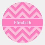 Hot Pink #2 Cotton Candy LG Chevron Name Monogram Classic Round Sticker