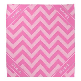 Hot Pink 2 Cotton Candy LG Chevron Name Monogram Bandanna