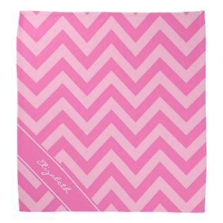 Hot Pink 2 Cotton Candy LG Chevron Name Monogram Kerchief