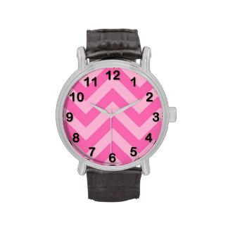 Hot Pink 2 Cotton Candy LG Chevron ZigZag Pattern Watch