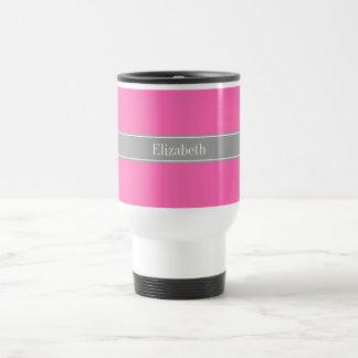 Hot Pink #2, Dark Gray Ribbon Name Monogram Travel Mug