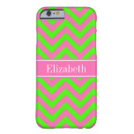 Hot Pink #2 Lime Green LG Chevron Name Monogram Barely There iPhone 6 Case