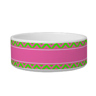 Hot Pink #2 Lime Green LG Chevron Name Monogram Bowl