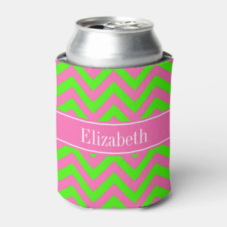 Hot Pink #2 Lime Green LG Chevron Name Monogram Can Cooler