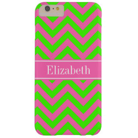 Hot Pink #2 Lime Green LG Chevron Name Monogram Barely There iPhone 6 Plus Case