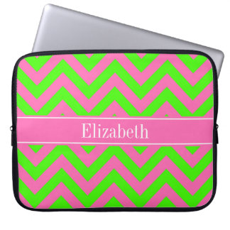 Hot Pink #2 Lime Green LG Chevron Name Monogram Computer Sleeve