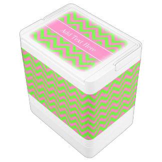 Hot Pink #2 Lime Green LG Chevron Name Monogram Igloo Drink Cooler