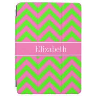 Hot Pink 2 Lime Green LG Chevron Name Monogram iPad Air Cover