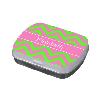 Hot Pink #2 Lime Green LG Chevron Name Monogram Jelly Belly Tin