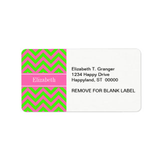 Hot Pink #2 Lime Green LG Chevron Name Monogram Label