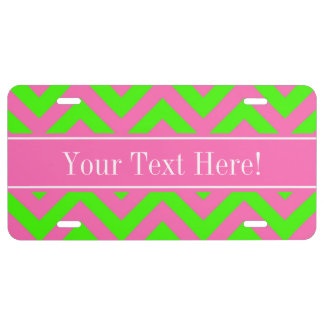 Hot Pink #2 Lime Green LG Chevron Name Monogram License Plate