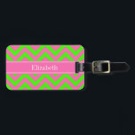 """Hot Pink #2 Lime Green LG Chevron Name Monogram Luggage Tag<br><div class=""""desc"""">Hot Pink #2 and Lime Green Large Chevron Zig Zag Pattern, Hot Pink Ribbon Name Monogram Customize this with your name, monogram or other text. You can also change fonts, adjust font sizes and font colors, move the text, add text fields, etc. Please note that this is a digitally created...</div>"""