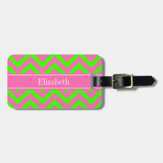 Hot Pink #2 Lime Green LG Chevron Name Monogram Luggage Tag