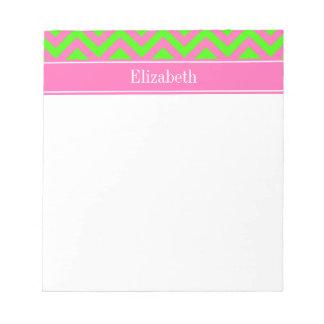 Hot Pink #2 Lime Green LG Chevron Name Monogram Memo Notepad