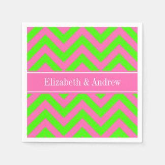 Hot Pink #2 Lime Green LG Chevron Name Monogram Napkin