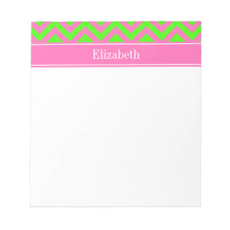 Hot Pink #2 Lime Green LG Chevron Name Monogram Notepad