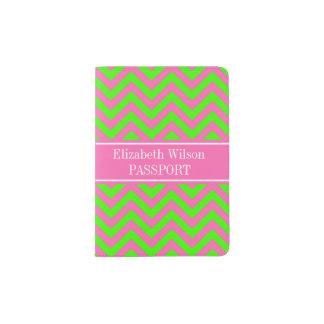 Hot Pink #2 Lime Green LG Chevron Name Monogram Passport Holder