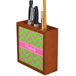 Hot Pink #2 Lime Green LG Chevron Name Monogram Pencil Holder