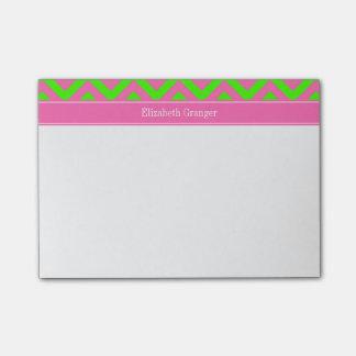 Hot Pink #2 Lime Green LG Chevron Name Monogram Post-it® Notes