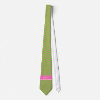 Hot Pink #2 Lime Green LG Chevron Name Monogram Tie