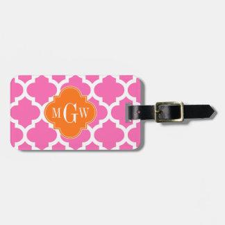 Hot Pink#2  Moroccan #5 Pumpkin 3 Initial Monogram Bag Tag