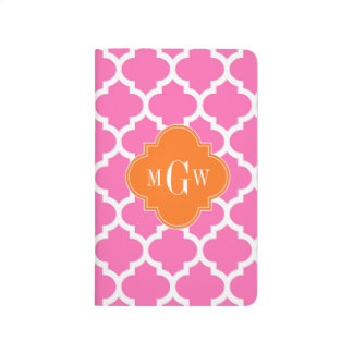 Hot Pink#2  Moroccan #5 Pumpkin 3 Initial Monogram Journal