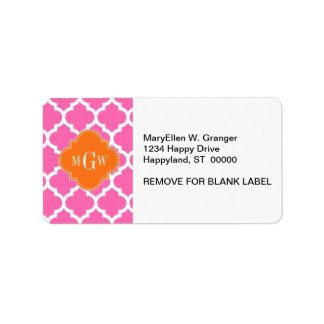 Hot Pink#2  Moroccan #5 Pumpkin 3 Initial Monogram Labels