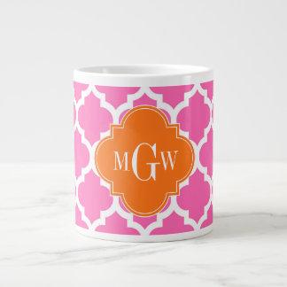 Hot Pink#2  Moroccan #5 Pumpkin 3 Initial Monogram Large Coffee Mug