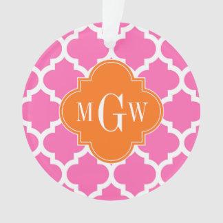 Hot Pink#2  Moroccan #5 Pumpkin 3 Initial Monogram Ornament