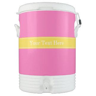 Hot Pink #2, Pineapple Ribbon Name Monogram Beverage Cooler
