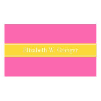 Hot Pink #2, Pineapple Ribbon Name Monogram Business Card