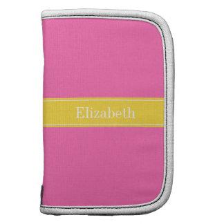 Hot Pink #2, Pineapple Ribbon Name Monogram Folio Planners
